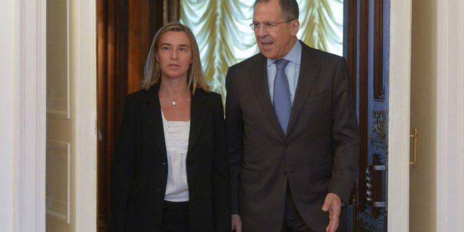 لافروف يدعو الاتحاد الأوروبي إلى التركيز على التصدى للتحديات الواقعية في مجال الأمن.. وموغيريني تؤكد ضرورة التعاون فيما يخص سورية وليبيا