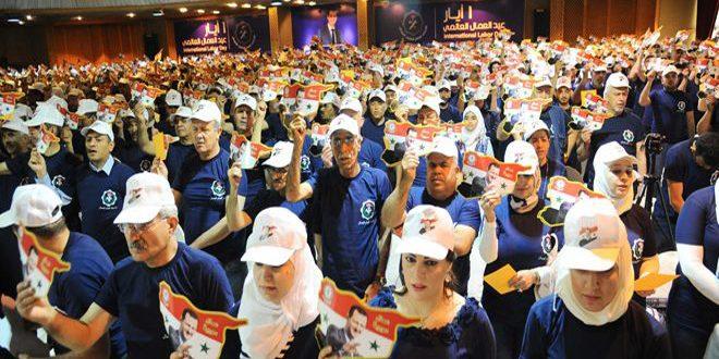 مهرجان مركزي بمناسبة عيد العمال في مجمع صحارى بريف دمشق