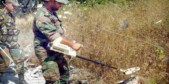 إزالة مخلفات الإرهابيين في 11 قرية بناحية ربيعة في ريف اللاذقية الشمالي تمهيداً لعودة الأهالي إليها
