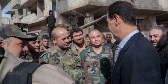 الرئيس الأسد مع أبطال الجيش العربي السوري على خطوط النار في الغوطة الشرقية