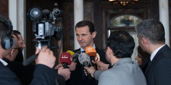 الرئيس الأسد: العملية ضد الإرهاب في الغوطة الشرقية ستستمر بالتوازي مع فتح المجال للمدنيين للخروج إلى مناطق الدولة- فيديو